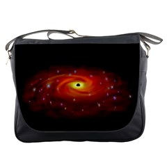Space Galaxy Black Sun Messenger Bags by Mariart
