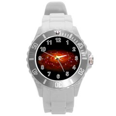 Space Galaxy Black Sun Round Plastic Sport Watch (l) by Mariart
