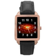 Space Galaxy Black Sun Rose Gold Leather Watch  by Mariart