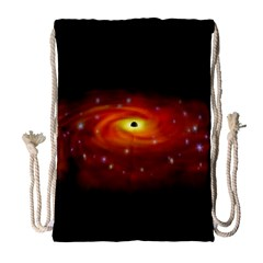 Space Galaxy Black Sun Drawstring Bag (large) by Mariart