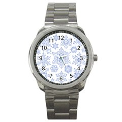 Snowflakes Blue White Cool Sport Metal Watch by Mariart