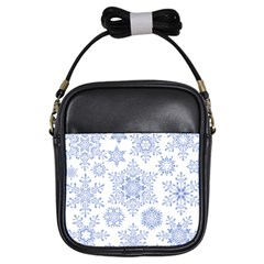 Snowflakes Blue White Cool Girls Sling Bags by Mariart