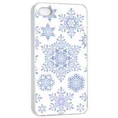 Snowflakes Blue White Cool Apple Iphone 4/4s Seamless Case (white) by Mariart