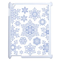 Snowflakes Blue White Cool Apple Ipad 2 Case (white) by Mariart