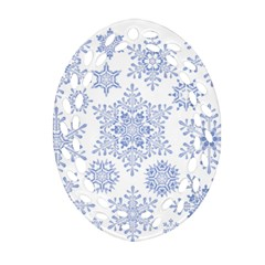 Snowflakes Blue White Cool Oval Filigree Ornament (two Sides) by Mariart