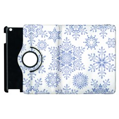 Snowflakes Blue White Cool Apple Ipad 2 Flip 360 Case by Mariart