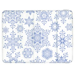 Snowflakes Blue White Cool Samsung Galaxy Tab 7  P1000 Flip Case by Mariart