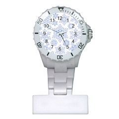 Snowflakes Blue White Cool Plastic Nurses Watch by Mariart