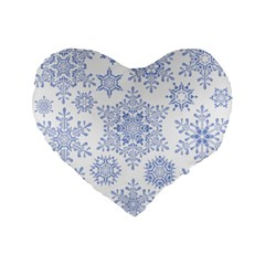 Snowflakes Blue White Cool Standard 16  Premium Flano Heart Shape Cushions by Mariart