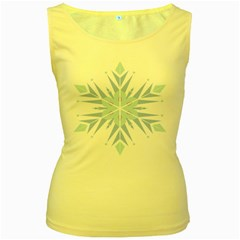 Snowflakes Star Blue Triangle Women s Yellow Tank Top by Mariart