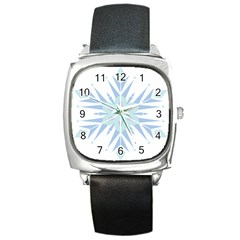 Snowflakes Star Blue Triangle Square Metal Watch by Mariart