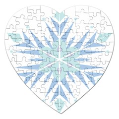 Snowflakes Star Blue Triangle Jigsaw Puzzle (heart) by Mariart
