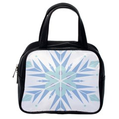 Snowflakes Star Blue Triangle Classic Handbags (one Side) by Mariart