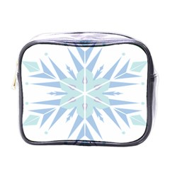 Snowflakes Star Blue Triangle Mini Toiletries Bags by Mariart