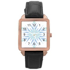 Snowflakes Star Blue Triangle Rose Gold Leather Watch  by Mariart