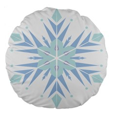 Snowflakes Star Blue Triangle Large 18  Premium Flano Round Cushions by Mariart