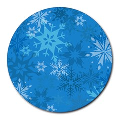 Snowflakes Cool Blue Star Round Mousepads by Mariart