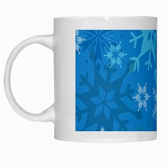 Snowflakes Cool Blue Star White Mugs by Mariart