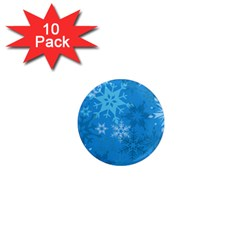 Snowflakes Cool Blue Star 1  Mini Magnet (10 Pack)  by Mariart