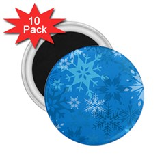 Snowflakes Cool Blue Star 2 25  Magnets (10 Pack)  by Mariart