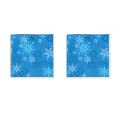 Snowflakes Cool Blue Star Cufflinks (square) by Mariart