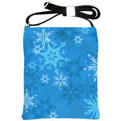 Snowflakes Cool Blue Star Shoulder Sling Bags by Mariart