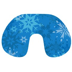 Snowflakes Cool Blue Star Travel Neck Pillows by Mariart