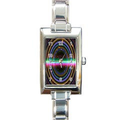 Spectrum Space Line Rainbow Hole Rectangle Italian Charm Watch by Mariart