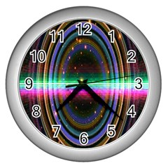 Spectrum Space Line Rainbow Hole Wall Clocks (silver)  by Mariart