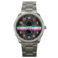 Spectrum Space Line Rainbow Hole Sport Metal Watch by Mariart