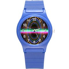 Spectrum Space Line Rainbow Hole Round Plastic Sport Watch (s) by Mariart