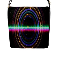 Spectrum Space Line Rainbow Hole Flap Messenger Bag (l)  by Mariart