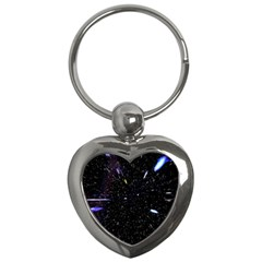 Space Warp Speed Hyperspace Through Starfield Nebula Space Star Hole Galaxy Key Chains (heart)  by Mariart