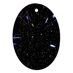 Space Warp Speed Hyperspace Through Starfield Nebula Space Star Hole Galaxy Oval Ornament (two Sides)