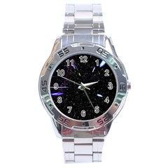 Space Warp Speed Hyperspace Through Starfield Nebula Space Star Hole Galaxy Stainless Steel Analogue Watch by Mariart