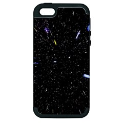 Space Warp Speed Hyperspace Through Starfield Nebula Space Star Hole Galaxy Apple Iphone 5 Hardshell Case (pc+silicone) by Mariart