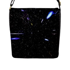 Space Warp Speed Hyperspace Through Starfield Nebula Space Star Hole Galaxy Flap Messenger Bag (l)  by Mariart