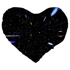Space Warp Speed Hyperspace Through Starfield Nebula Space Star Hole Galaxy Large 19  Premium Flano Heart Shape Cushions by Mariart