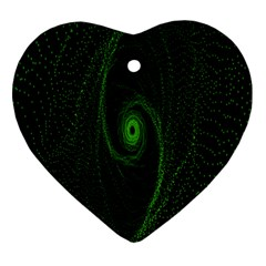 Space Green Hypnotizing Tunnel Animation Hole Polka Green Heart Ornament (two Sides)