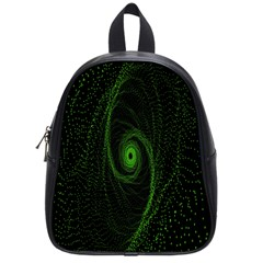 Space Green Hypnotizing Tunnel Animation Hole Polka Green School Bag (small) by Mariart