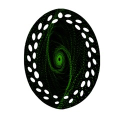 Space Green Hypnotizing Tunnel Animation Hole Polka Green Oval Filigree Ornament (two Sides) by Mariart