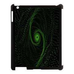 Space Green Hypnotizing Tunnel Animation Hole Polka Green Apple Ipad 3/4 Case (black) by Mariart