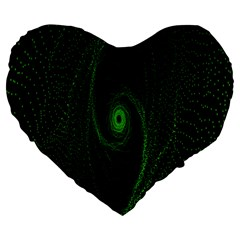 Space Green Hypnotizing Tunnel Animation Hole Polka Green Large 19  Premium Heart Shape Cushions by Mariart