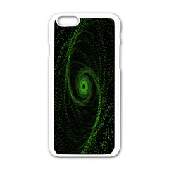 Space Green Hypnotizing Tunnel Animation Hole Polka Green Apple Iphone 6/6s White Enamel Case by Mariart