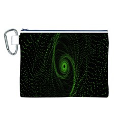 Space Green Hypnotizing Tunnel Animation Hole Polka Green Canvas Cosmetic Bag (l) by Mariart