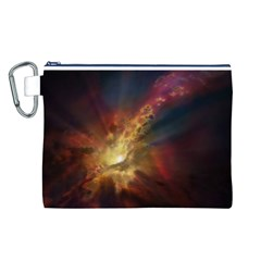 Sun Light Galaxy Canvas Cosmetic Bag (l) by Mariart