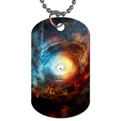 Supermassive Black Hole Galaxy Is Hidden Behind Worldwide Network Dog Tag (two Sides)