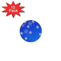 Winter Blue Snowflakes Rain Cool 1  Mini Buttons (10 Pack)  by Mariart