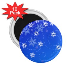 Winter Blue Snowflakes Rain Cool 2 25  Magnets (10 Pack)  by Mariart