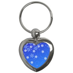 Winter Blue Snowflakes Rain Cool Key Chains (heart)  by Mariart
